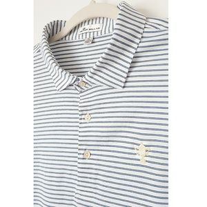 Peter Millar Blue Stiped 100% Cotton Polo Size XL